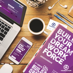 Build A Dream desk with web and flyer content