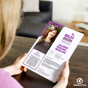 Build A Dream | Woman Holding an Event Flyer