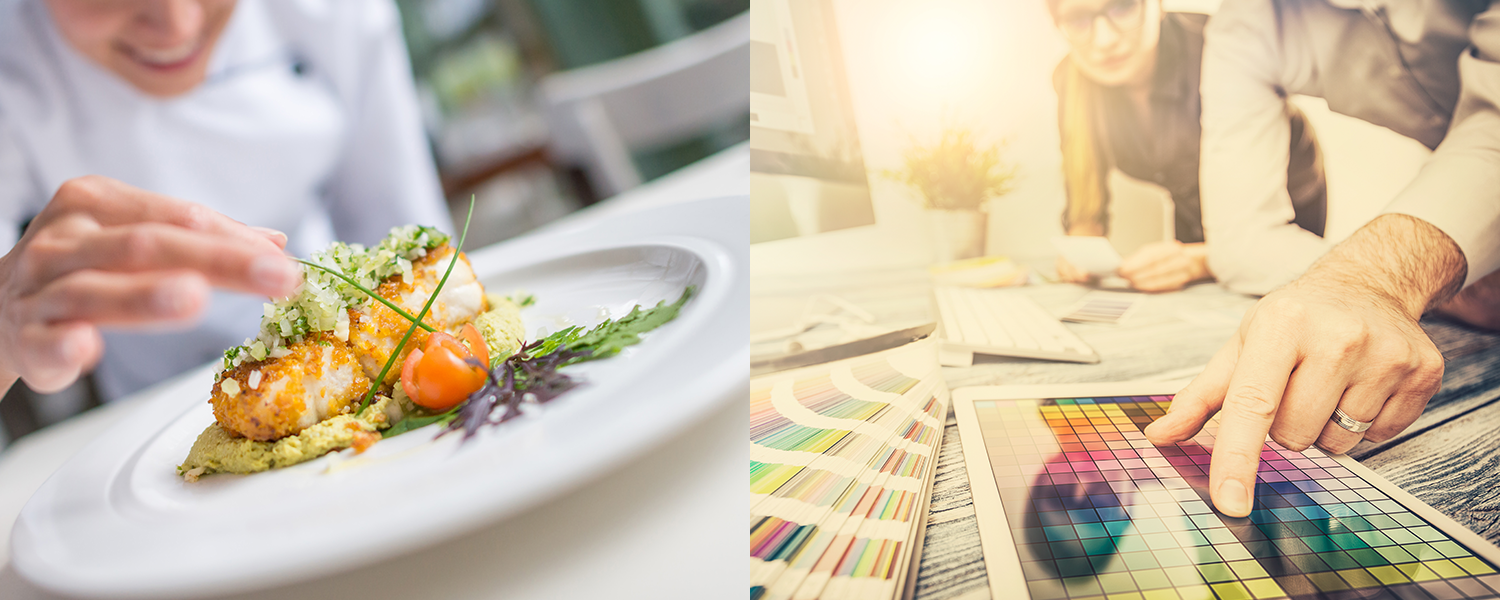 Careful consideration, research, time and development go into the professional logo design process, like how a master chef creates a gourmet meal. In the picture, a chef is putting the finishing touch on a meal, and a design team are reviewing colour swatches next to it.