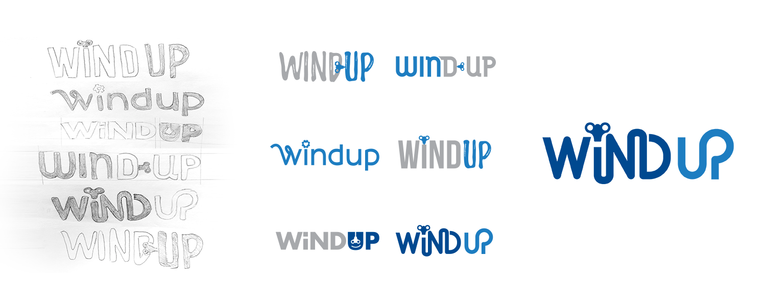 Logo creation is a process. The logo for WindUp involved hours of work, including pencil concepts and a refining of those ideas to produce a final design.