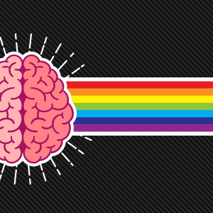 An illustration of a brain with a rainbow