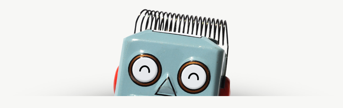 Winston the Robot peeking up from the webpage