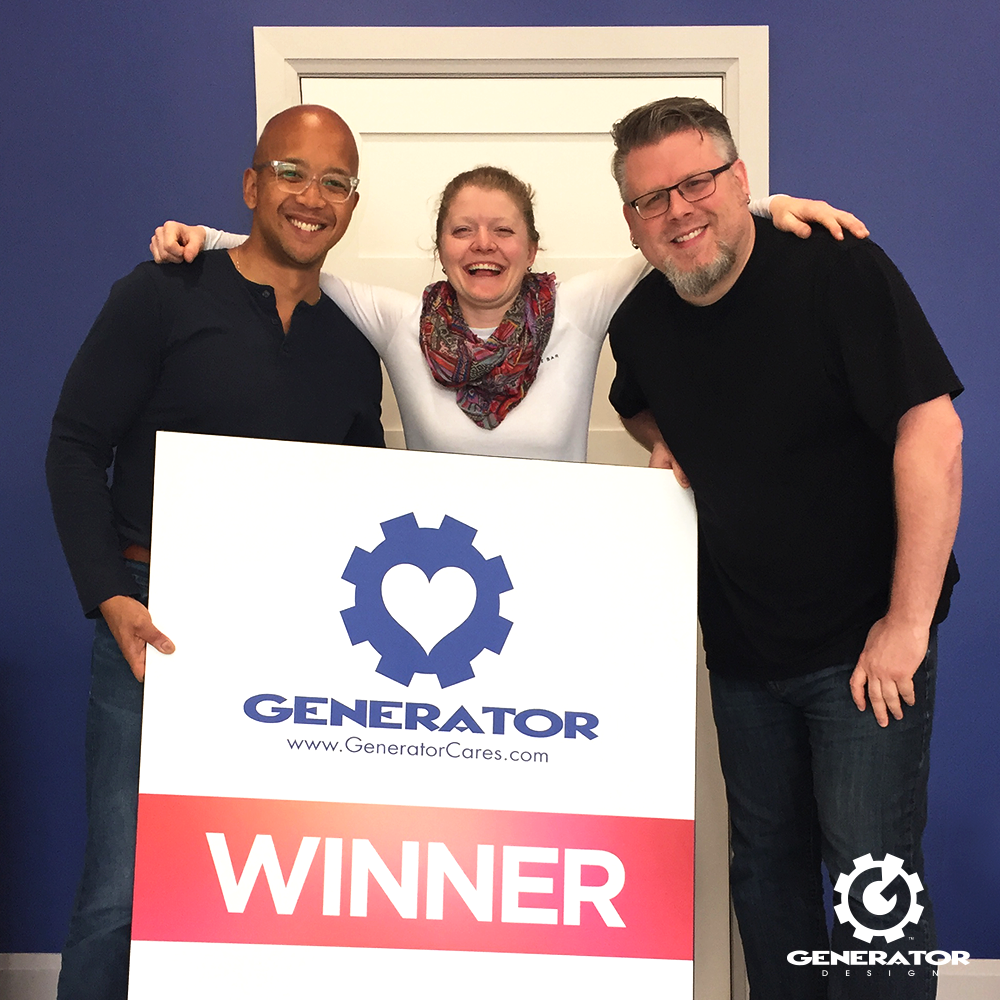 Generator partners Jose & Alan pose with the owner of The Cheese Bar, Sarah Barrette, winner of WindUp2018.